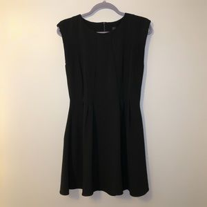 Topshop black pleated fit flare dress